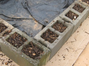 Wood chips filling cinder block holes for added insulation.